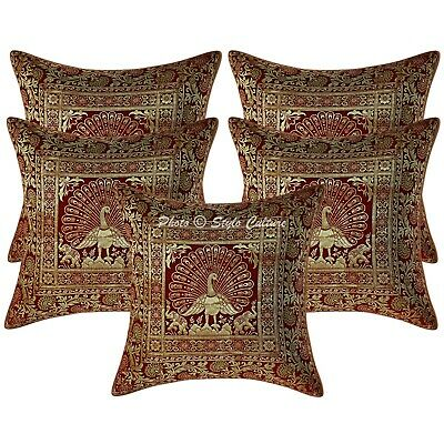 Bohemian Cushion Covers 40x40 Cm Maroon Brocade Peacock Set Of 5 Scatter Cushion • 18.96£