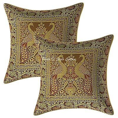 Bohemian Cushion Covers 16x16 Coffee Brocade Peacock Set Of 2 Scatter Pillowcase • 11.96£