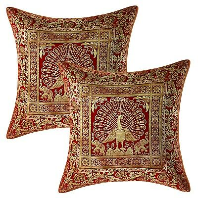 Ethnic Cushion Covers Red 40 X 40 Cm Jacquard Brocade Peacock Throw Pillow Cases • 12.38£
