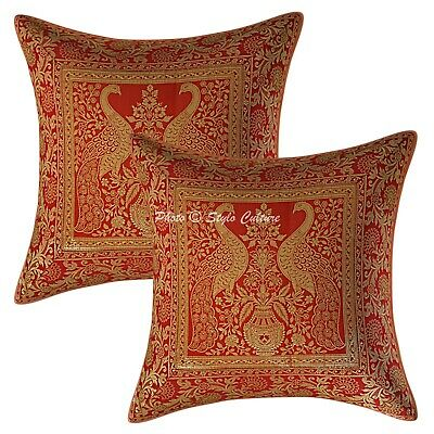 Traditional Cushion Covers Red 40x40 Cm Jacquard Brocade Peacock Throw Pillows • 12.38£