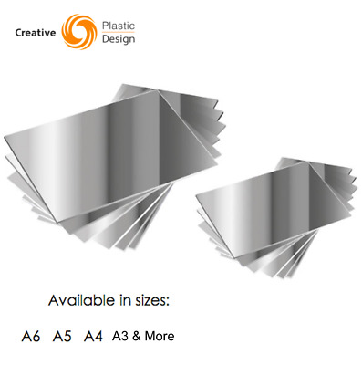 Silver Acrylic Mirror Sheet Plastic Material Mirror Perspex Panel A4 A5 A6 More • 6.45£