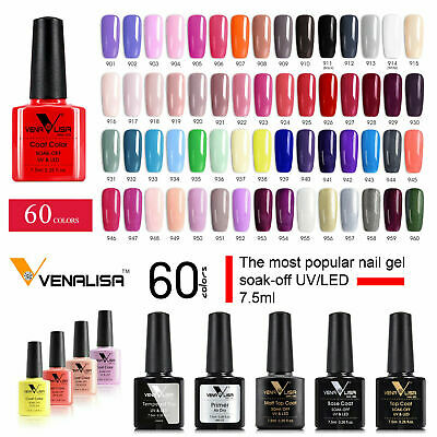 Nail Gel Polish Colours No Wipe Top Base Coat UV LED Varnish 60 Venalisa 7.5ml • 3.60£