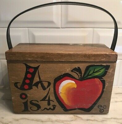 $59.97 • Buy Enid Collins Of Texas Box Bag Wooden Purse  A Is 4 Apple  1960s Vintage Festival