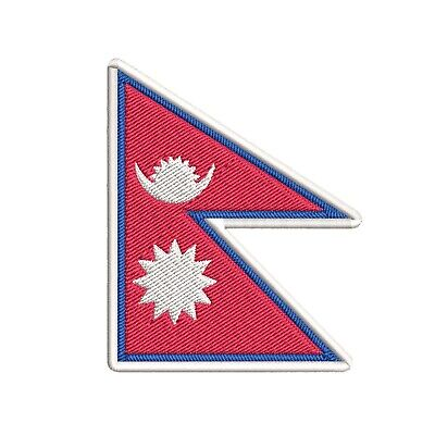 NEPAL FLAG Embroidered Iron-on PATCH NEPALI NEPALESE • 2.84£