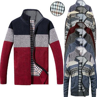 Mens Fleece Lined Insulated Knitted Zip Up Cardigan Striped Warm Winter Jumper • 19.99£