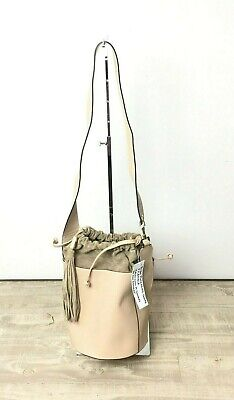 My Choice Bucket Leather And Suede Large Shoulder Bag With String Tie Color Nude • 100.14£