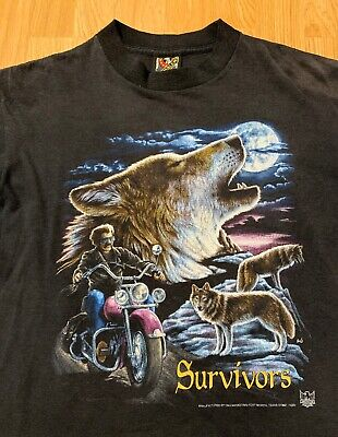 $ CDN80.43 • Buy Vintage 1992 American Biker Survivors 3D Emblem T-Shirt Size Men's Large