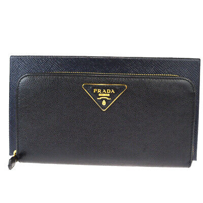 Auth PRADA MILANO Logos Zipper Long Wallet Purse Leather Balck Italy 65EW276 • 254.77£