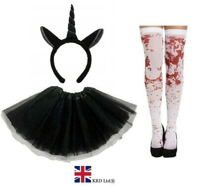 ZOMBIE UNICORN COSTUME Ladies Kids Ghost Halloween Scary Fancy Dress ZDM31403 UK • 13.50£