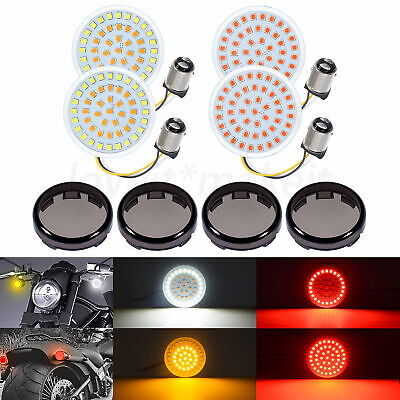 $27.71 • Buy LED Turn Signals Lights Smoke Lens 1157 White Amber Red Fit For Harley Softail