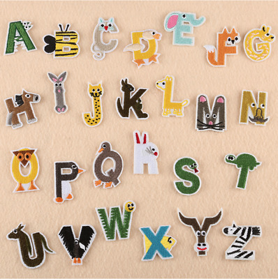 £0.99 • Buy Cartoon Animal A-Z Alphabet Letter - Iron On Patches Embroidery Patch Kids Baby