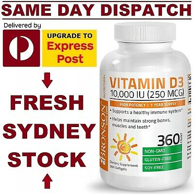 AU37.50 • Buy Nu Nutrition Vitamin D3 10,000 IU 365 Softgels ULTRA DOUBLE STRENGTH VALUE PACK!
