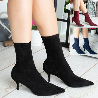 Womens Ankle Boots Ladies Mid Kitten Heel Pointed Toe New Comfy Sock Shoes Size  • 19.99£