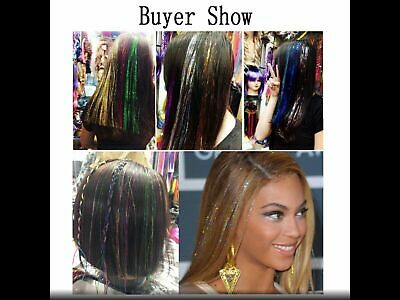 100cm X 150 Strands Holographic Sparkle Hair Glitter Tinsel Extensions Dazzles • 2.16£