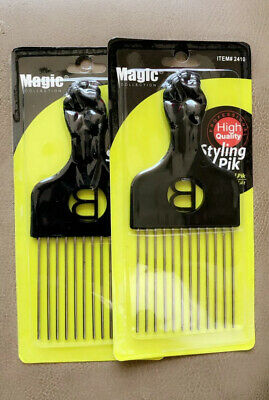 $9.99 • Buy 2 Magic Detangle Metal Lift Hair Pick Piks Comb Wig Braid Hair Afro Man Tease