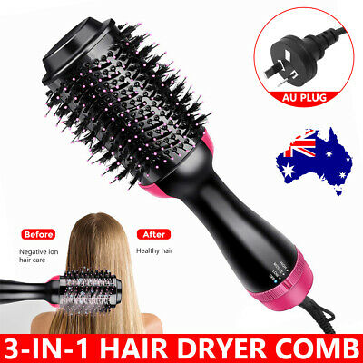 AU45.99 • Buy 3-in-1 Hot Air Style Curler Hair Dryer Styling Roll Hair Brush Comb Hairdryer AU