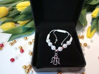 First 1st Holy Communion Acrylic Bracelet Gift Girls Angel Charm Handmade Macram • 7.99£