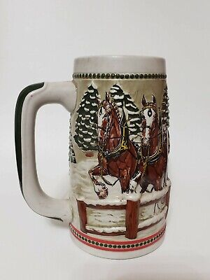 $ CDN20.29 • Buy 1984 Budweiser Beer Stein Clydesdale Horses Covered Bridge On A Snowy Day