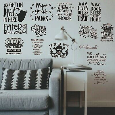 Wall Art Stickers Quotes, Removable Home Decor, Quality Vinyl For Home Kitchen L • 2.79£