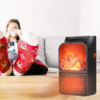 $24.29 • Buy 500W Fireplace Electric Home Space Heater Flame Timer Fan Warmer Blower Silent