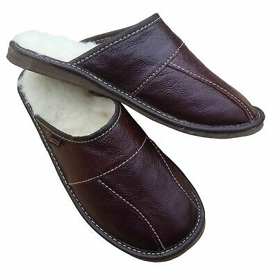 Mens Sheepskin Slippers Mule House Shoes Brown Leather Warm Wool Size 7 - 13 UK • 12.39£