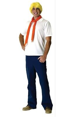 Licensed Fred Mens Adult Scooby Doo Cartoon Fancy Dress Up Halloween Costume • 30.75£