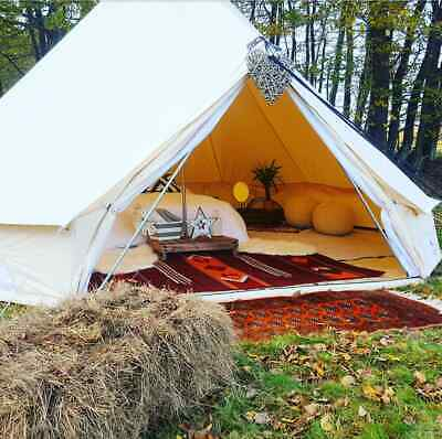Family Camping Bell Tent 4M Yurt Cotton Canvas Glamping Waterproof 4 Season Tipi • 384.99£