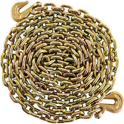 $46 • Buy Tow Chain 3/8  21ft Grade 70 Heavy Duty With Safety Grab Hooks