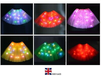 LIGHT UP LED TUTU Womens Girls Kids Stage Dance Skirt Dancewear Halloween NEW UK • 7.99£