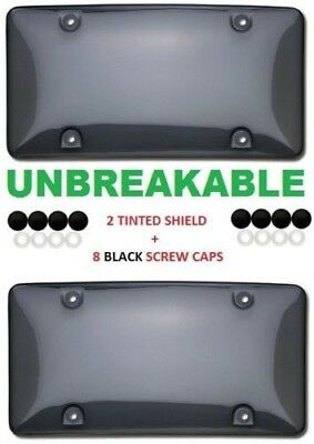 $8.25 • Buy 2 Unbreakable Tinted Smoke License Plate Tag Holder Frame Bumper Shield Covers