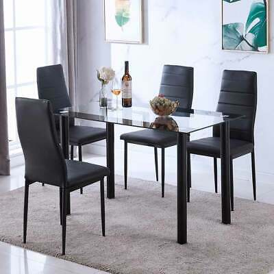 Rectangle Tempered Glass Dining Table And 4 Leather Chairs Set Breakfast Black • 89.90$