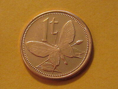 2002 Papua New Guinea  1 Toea Butterfly Coin    Unc Beauty   Classic Coin • 2$