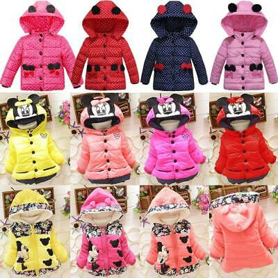 Toddler Baby Girls Minnie Mouse Hooded Jacket Coat Clothes Winter Warm Outwear • 12.44£