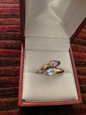 9ct Gold Dress Ring Topaz And Amethyst Ring  • 118£