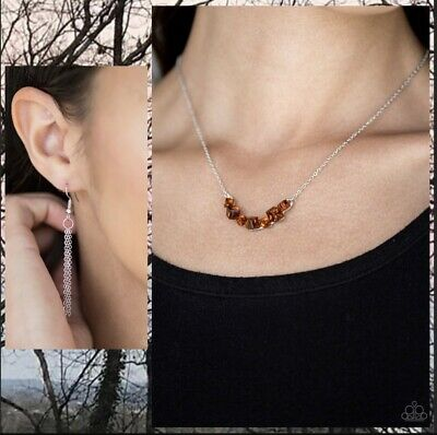 Paparazzi  Loaded Dice  Brown Crystal-like Cubed Necklace Set With Earrings  • 3.54£