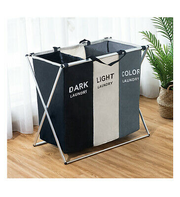 3compartment Laundry Clothes Washing Storage Basket Hamper Dark Lights And Color • 16.65£
