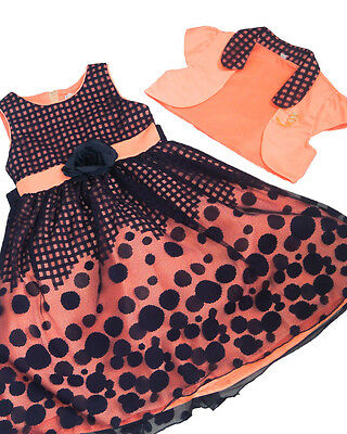 Girls 2pc Coral Peach Dress Polka Dot Design For Parties & Special Occasions • 36.99£