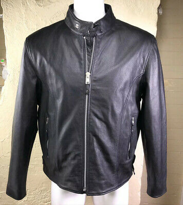 Street & Steel Scooter Mens Black Leather Lined Motorcycle Jacket  Size XL • 120$