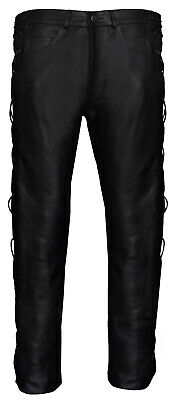 £71.99 • Buy Mens LEATHER MOTORCYCLE TROUSERS Classic Cowhide Black BIKER JEANS Laces
