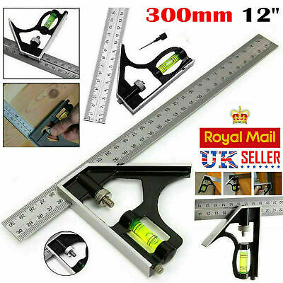 "300mm (12"") Adjustable Engineers Combination Try Square Set Right Angle Ruler UK • 3.99£"