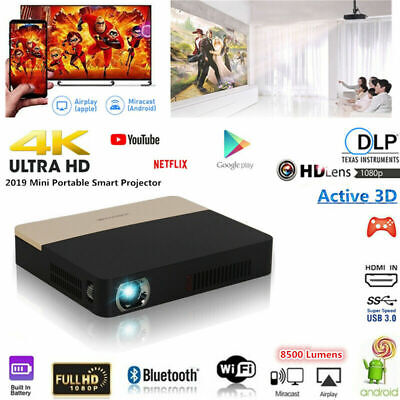 AU159.69 • Buy 8500 Lumen 4K DLP Android Home Theater Projector HD 1080P 3D Cinema Wifi HDMI AU
