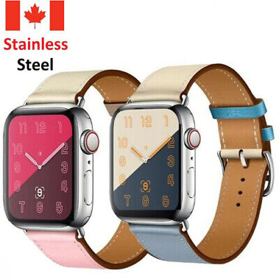 $ CDN10.99 • Buy Leather Watch Band Herme Belt Single/Double Tour For Apple Watch Series 5 4 3 2