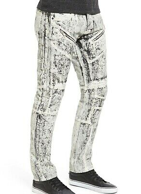 PRPS Demon Heavy Painted Moto Slim-Straight Jeans Size 36R White • 86£