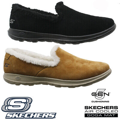 Ladies Skechers Go Step Relaxed Fit Memory Foam Fur Slippers Shoes Trainers Size • 34.95£