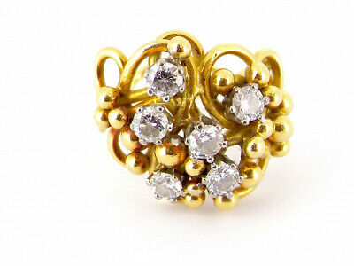 £1495 • Buy 18ct Gold Unusual 0.90ct Diamond Scatter Openwork Cluster Ring 1976 Size I