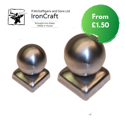 Square Metal Ball Top Post Tops Caps Fence Gates Railings 40mm-100mm • 3.50£