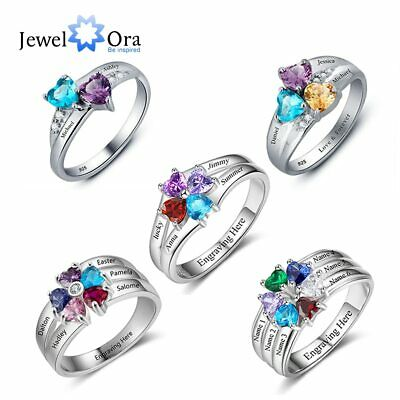 $20.99 • Buy 925 Sterling Silver Custom Women Ring Birthstones Engrave Names Mothers Day Gift