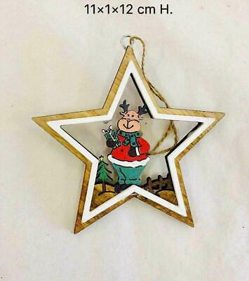 Wooden Christmas Tree Decorations Reindeer Craft Hanging Decor Xmas Star Shapes • 1.89£