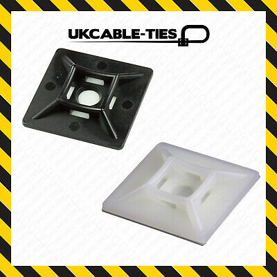 £1.59 • Buy 19//28//40mm Self Adhesive Cable Tie Mounts Clips For Wire Cable Conduit Tubing