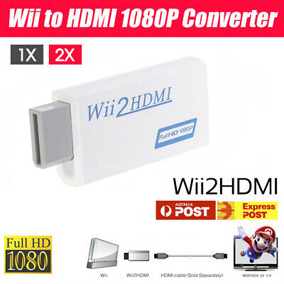 AU8.99 • Buy 1/2x 1080p Wii HDMI Adapter Wii To HDMI Converter 3.5mm Audio HD Video Output
